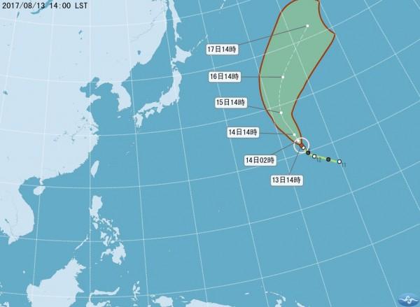 今年第12號中度颱風榕樹對台無影響。(圖擷自中央氣象局)