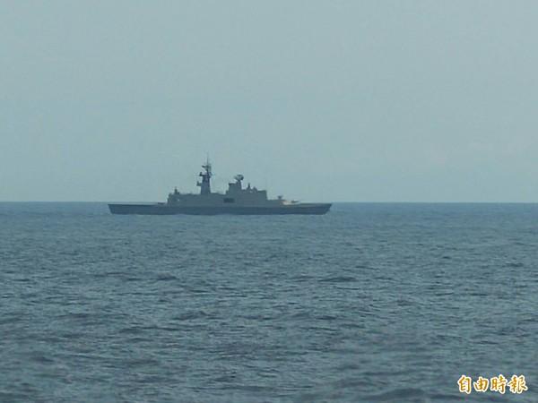 總統蔡英文今日上午赴海軍蘇澳基地,並登上基隆級驅逐艦視導「戰備抽測」聯合操演。(記者涂鉅旻攝)&#10