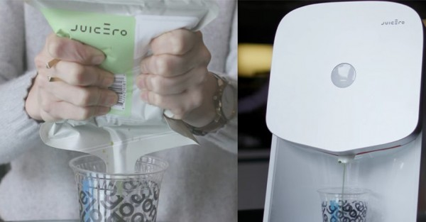 Juicero榨汁機除了本身要價不斐,還要搭每5包29.99美元(約新台幣910元)的特製壓縮蔬果包,最近卻被踢爆壓縮蔬果包其實用手就能擠出果汁,不少人質疑裡面裝的是榨好的蔬果汁。(圖翻攝自YouTube影片)