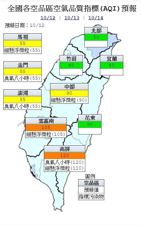 今日各地空氣品質預報概況。(圖擷取自中央氣象局)