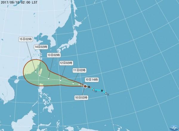 今年第18號輕度颱風泰利昨晚形成,各國氣象機構的預報紛紛認為泰利將撲向台灣,對台灣構成嚴重威脅。(中央氣象局)