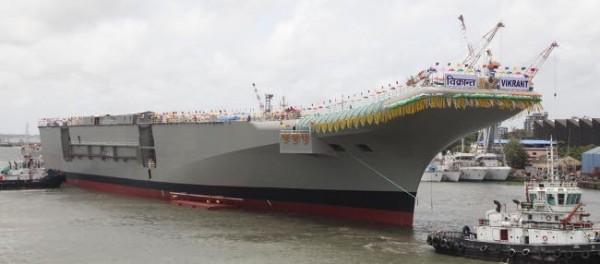 印度首艘自製航空母艦維克蘭特號(INS Vikrant),目前已在進行輔助系統等測試,若進展順利,維克蘭特號預計能在2020年前服役。(圖取自印度海軍官網www.indiannavy.nic.in)
