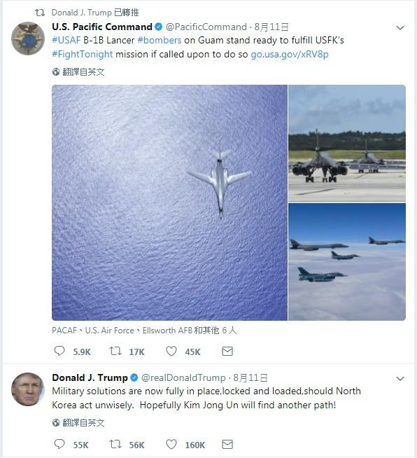 美國總統川普在推特上貼文,指出「槍砲已上膛」,要金正恩不要輕舉妄動,隨後又轉推美國太平洋司令部B1B轟炸機的貼文,警告意味十足。(圖擷自推特)
