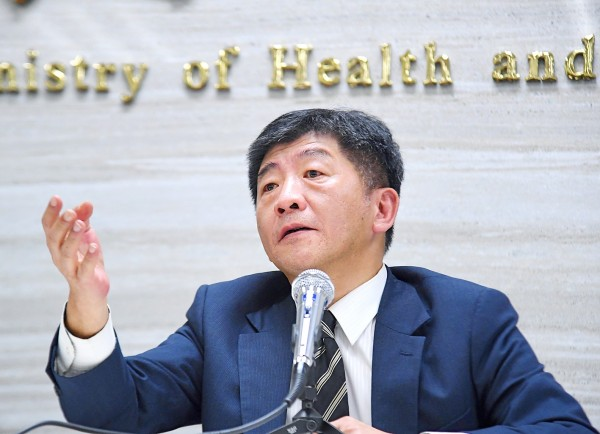 Minister of Health and Welfare Chen Shih-chung yesterday speaks at a news conference at the Ministry of Health and Welfare in Taipei. Photo: CNA
