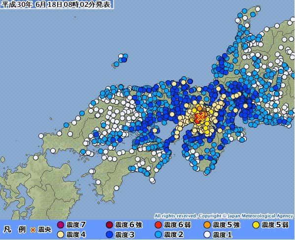 日本今早發生規模5.9強震,目前大阪府更有多達17萬戶停電。(圖擷取自日本氣象廳)