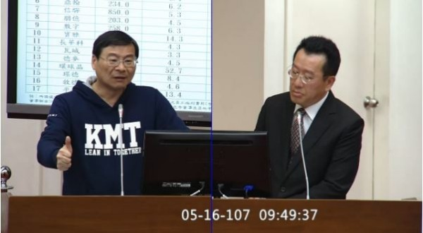 國民黨立委曾銘宗(左)今天就低薪問題質詢金管會主委顧立雄。(圖擷取自立法院IVOD)