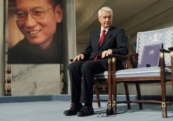 諾貝爾獎以空椅子向劉曉波致敬。(資料照,路透)