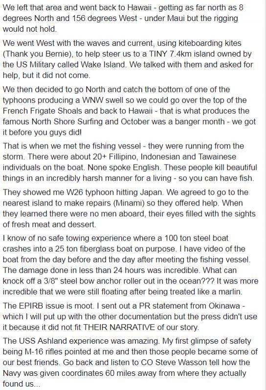 艾培爾說,當漁船船員得知她們的帆船上沒有男人時,這些船員的眼睛就像是看到鮮肉和甜點。(圖擷自臉書)