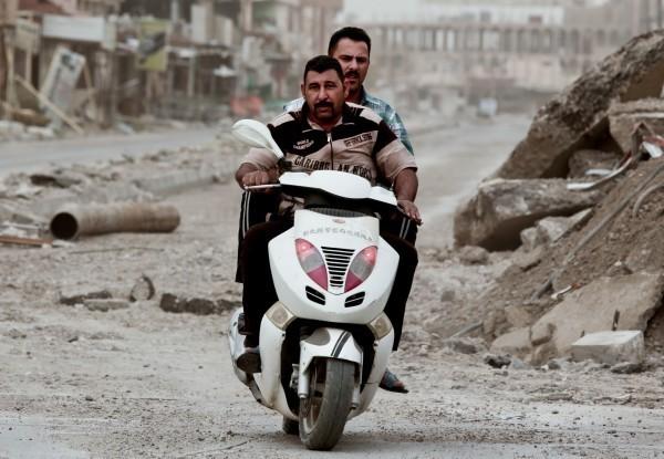 彰化縣警局淘汰的機車,2年前被發現流浪到伊斯蘭國(ISIS)。(美聯社)