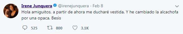 艾琳事後在推特上自嘲,「從現在開始,我會穿好衣服洗澡,再來就是把會反光的蓮蓬噴頭給換了」。(圖擷取自Irene Junquera twitter)