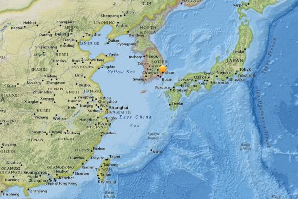 朝鮮半島東南方今(15日)下午1點37分傳出芮氏規模5.5地震,字有紀錄以來南韓第二強震。(USGS)