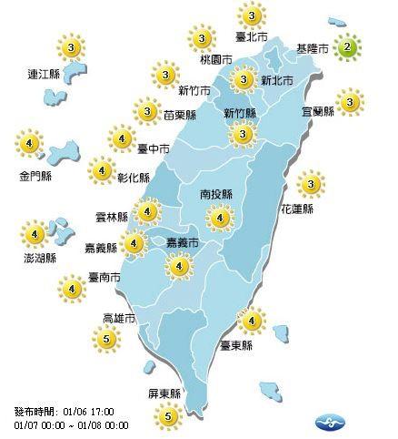 明日紫外線預報。(圖擷自中央氣象局)