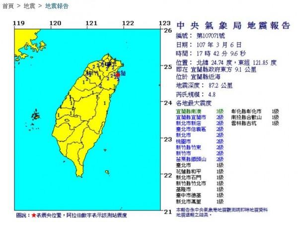宜蘭縣近海今天下午17點42分發生規模4.8地震。(圖擷取自中央氣象局)