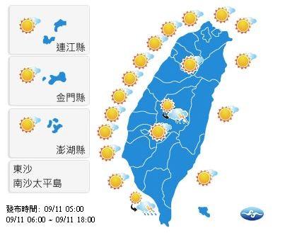 今天各地天氣晴朗穩定,僅山區及近山區有午後陣雨。(圖擷自中央氣象局)