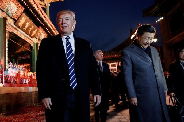 川普受到中國高規格待遇。(路透)
