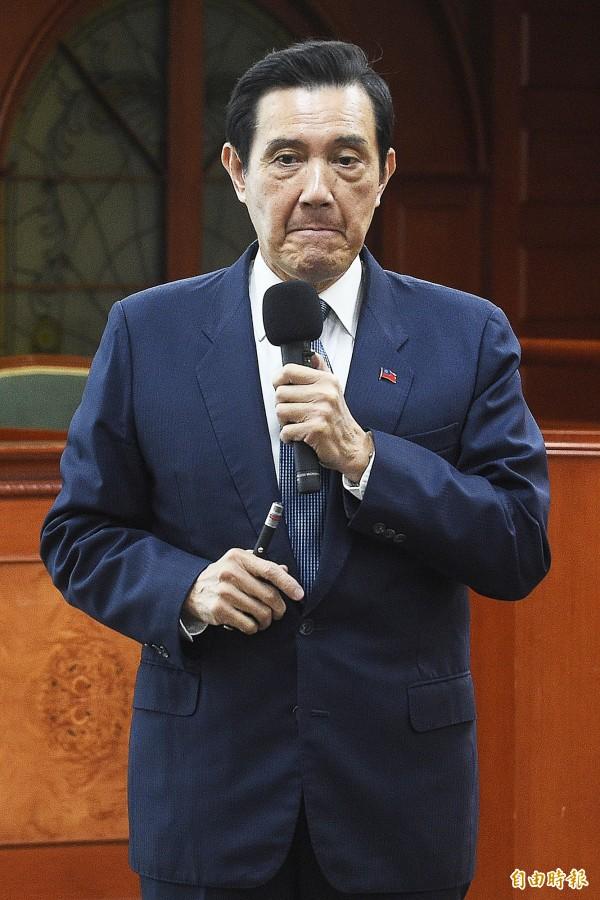 前总统马英九到东吴大学演讲。(记者陈志曲摄)