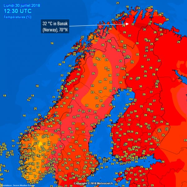 在當地時間30日,位於北極圈內,北緯70°的挪威Banak地區都測到了32℃高溫。(圖擷自《meteociel.fr》)