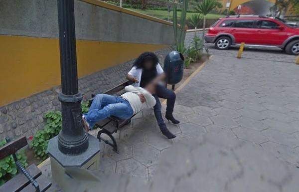 秘魯一名男子近日利用Google地圖規劃行車路線時,卻發現老婆5年前和小王偷情的畫面。(圖擷取自Google Maps)