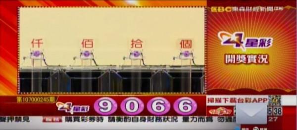 4星彩開獎號碼。(翻攝自東森財經新聞)