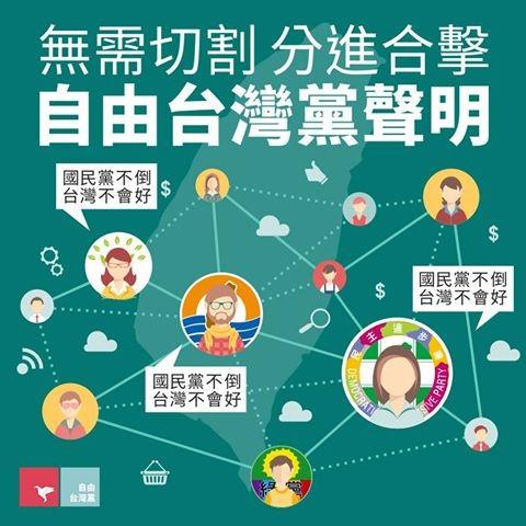 民進黨禮讓第三勢力話題熱議,新興政黨「自由台灣黨」表示無需切割,應該分進合擊。(圖擷取自自由台灣黨臉書)