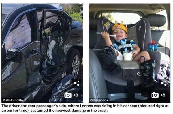 遭班達(Constantino Banda-Acosta)撞擊的轎車,可看見衝撞力道之大。(圖擷自《每日郵報》)