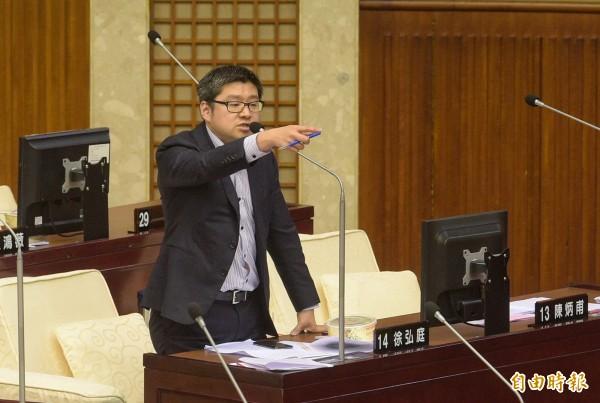 北市議員徐弘庭今早指出,依照政風處的最新報告,針對吳音寧送菜回家鄉社福團體一事提出3點質疑。(資料照)