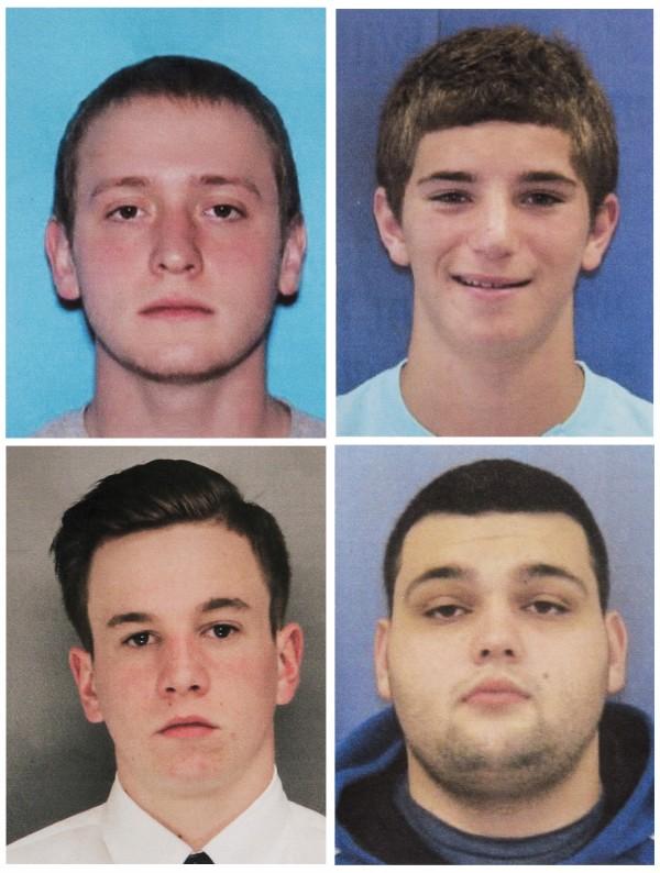 美國賓州4名青年幾乎同時失蹤,分別為21歲梅奧(Thomas Meo,左上)、19歲派崔克(Jimi Patrick,左下)、18歲菲諾基亞羅(Dean Finocchiaro,右上)、22歲史特基(Mark Sturgis,右下)。(美聯社)