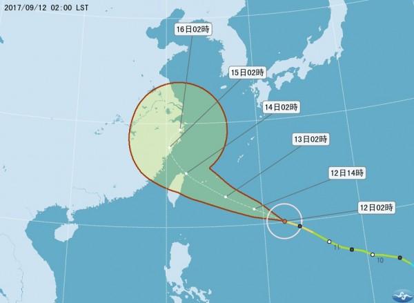中央氣象局對泰利颱風的路徑預測。(圖擷取自中央氣象局)