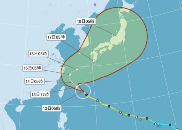 吳德榮表示,泰利環流最接近陸地的時間為今午後與明晨,但整體而言影響較其它颱風小。(圖片擷取自氣象局)