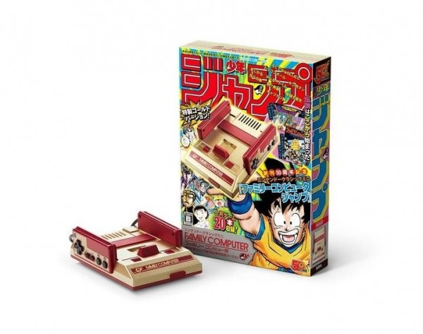 任天堂公司指出,将于7月7日推出《周刊少年Jump》漫画杂志50周年纪念版「红白机」,将原本机身上的白色以金色取而代之。(图撷取自esquirehk)