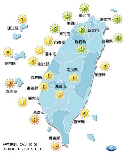 今日各地紫外線為低至中量級。(取自氣象局網站