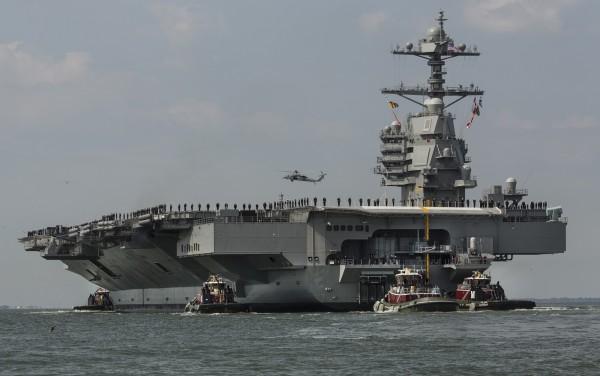 美國最新一代的福特級航空母艦,直到近年才加入美軍的陣容。(美聯社)