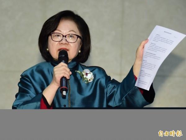 陳郁秀拿7大罪狀指控郭建宏不適任。(資料照,記者潘少棠攝)