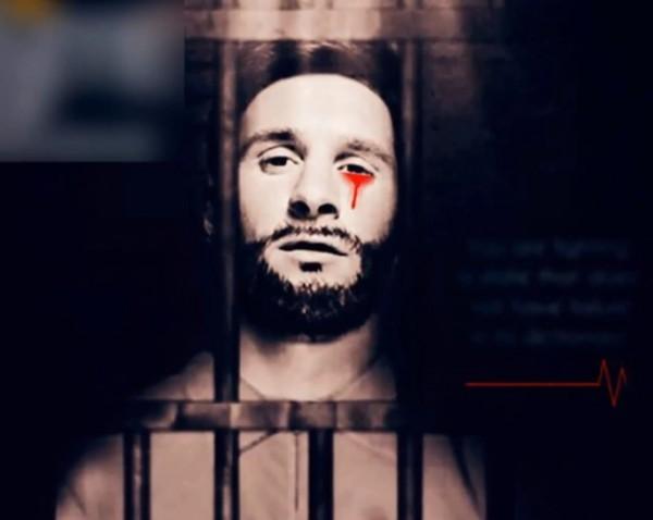 阿根廷知名球星梅西曾在2017年遭ISIS改圖為宣傳圖主角。(圖片擷取自文中YouTube影片)