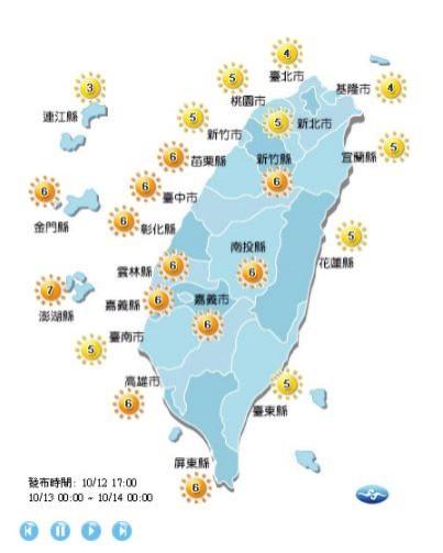 明新竹以南紫外線指數多在高量級,東部和新竹以北都在中量級。(圖擷自中央氣象局)