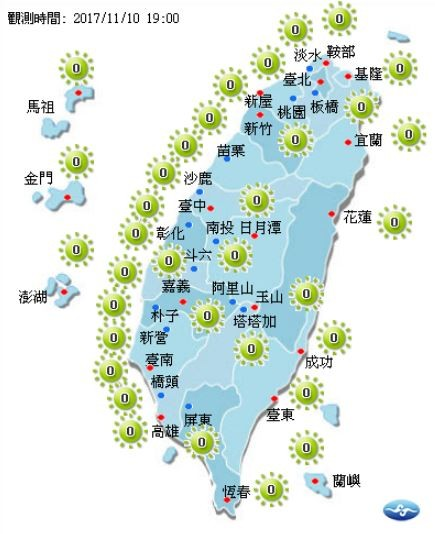 明日全台各地紫外線指數均為低量級。(圖擷取自中央氣象局)