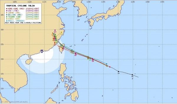 各國氣象單位也紛紛從巴士海峽至台東登陸向北修正至宜花之間登陸,對台影響大增。(圖擷自Typhoon2000)