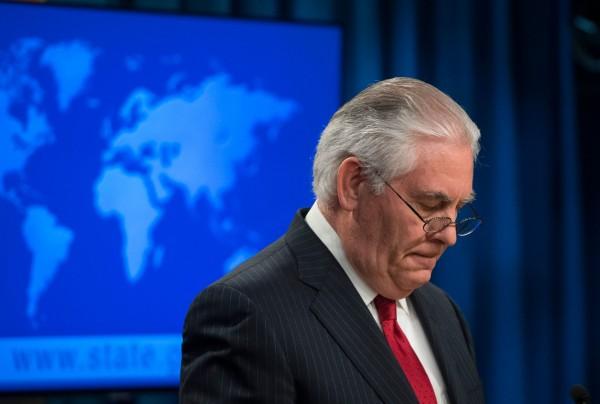 得知被撤換後,美國國務卿提勒森13日下午開記者會,發表「畢業感言」,感謝同事與美國人民,但隻字不提川普。(法新社)