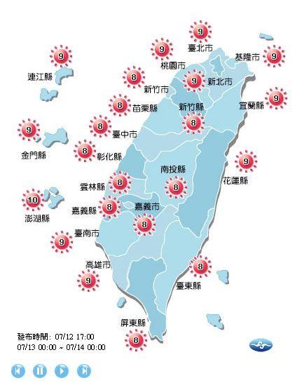 明天各地紫外線指數在8至9級,澎湖可達10級,中午外出時仍要注意防曬並多補充水分。(擷取自中央氣象局)