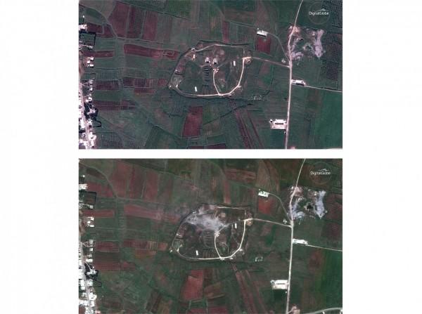 美英法空襲敘利亞,敘國宣稱攔截多枚飛彈,但衛星圖卻顯示霍姆斯市(Homs)的設施已遭破壞。上圖為當地13日轟炸前的衛星圖,下圖為14日轟炸後的衛星圖。(美聯社)