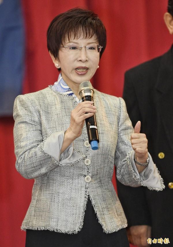 國民黨主席洪秀柱今出席活動時指出,中華民國國民不能說自己是中國人好奇怪。(記者陳志曲攝)