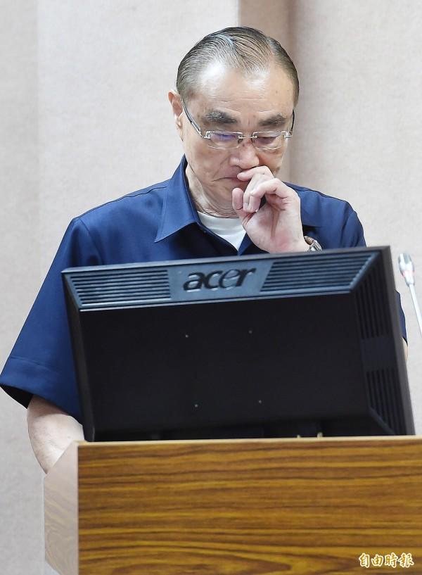 國防部長馮世寬7日赴立法院外交及國防委員會備質詢。(記者朱沛雄攝)