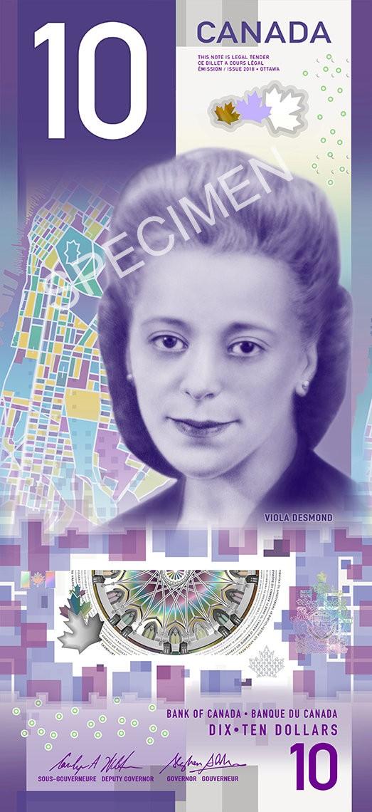 加拿大於國際婦女節公佈了首張直立圖像10元鈔票,同時也向加國反種族歧視的啟蒙者 維奧拉‧戴斯蒙德(Viola Desmond)致敬。(路透)
