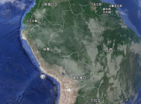 南美洲秘魯阿卡里(Acari)在今天凌晨4點18分(台灣時間下午5點18分),發生芮氏規模7.3強震,深度僅有12.1公里。(圖擷取自Google地球)
