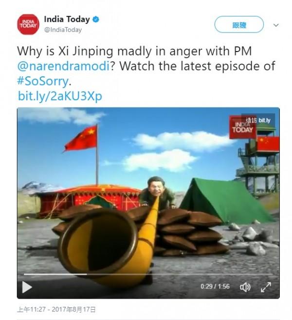 《今日印度》於推特發布1部嘲諷習近平的影片。(圖片來源為《今日印度》推特)
