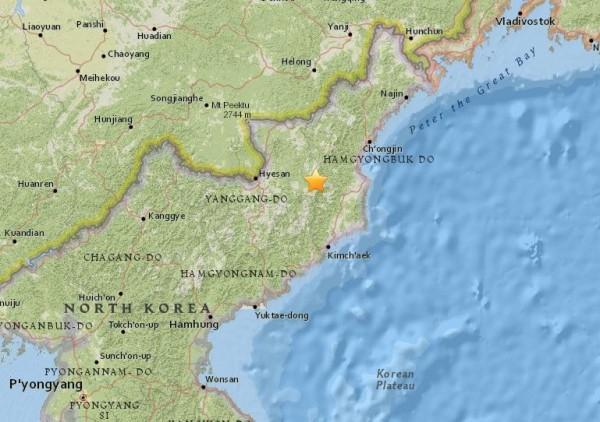 北韓豐溪里核試驗場附近當地時間13日凌晨發生規模2.9地震。(圖擷取自美國地質調查局網站)