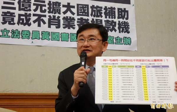 立委黃國書踢爆有旅行業者捏造假資料申請補助。(資料照)