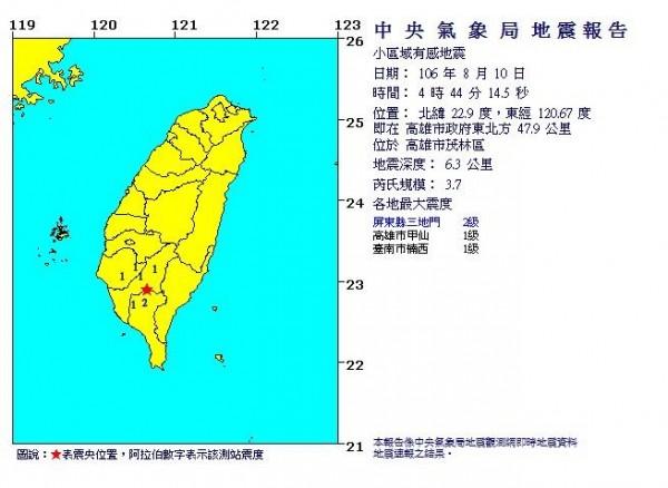今天清晨4時44分,高雄市茂林區發生芮氏規模3.7地震,深度僅6.3公里。(圖取自氣象局網站)
