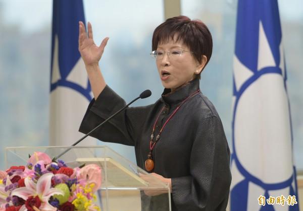 洪秀柱在今日國民黨第19屆中央委員會第4次會議上致詞。(記者張嘉明攝)