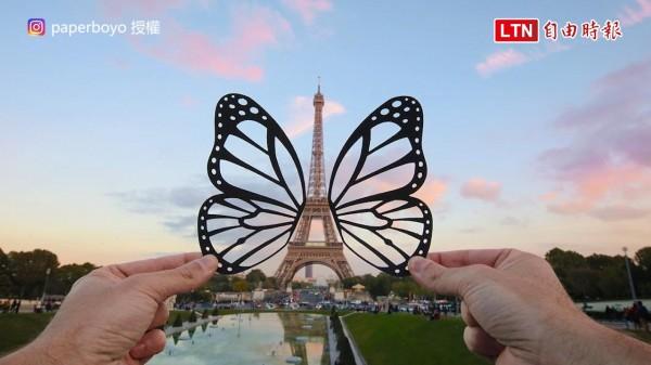 艾菲爾鐵塔長出翅膀了。(授權:paperboyo)